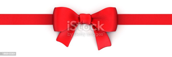 istock Red ribbon isolated on white with clipping path 186845564