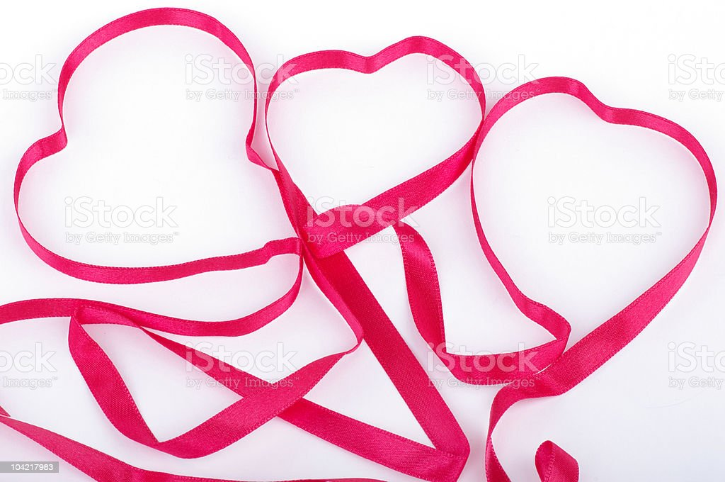 Red ribbon like hearts royalty-free stock photo