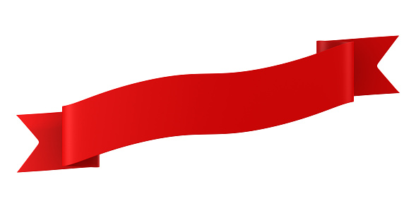 red ribbon on white background. Isolated 3D illustration