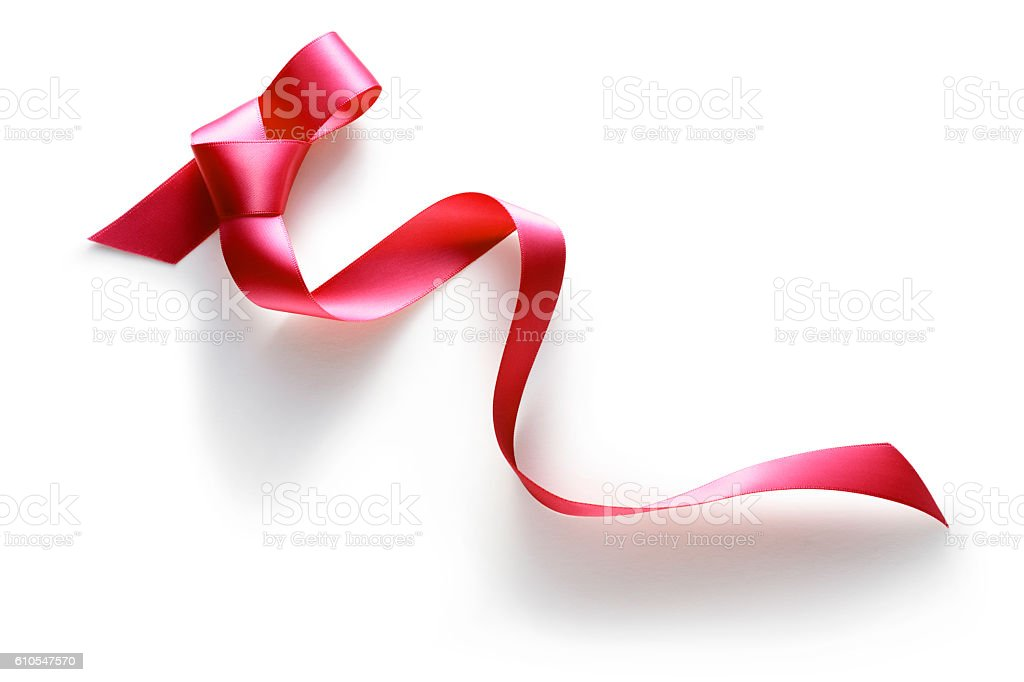 red ribbon on white background. stock photo