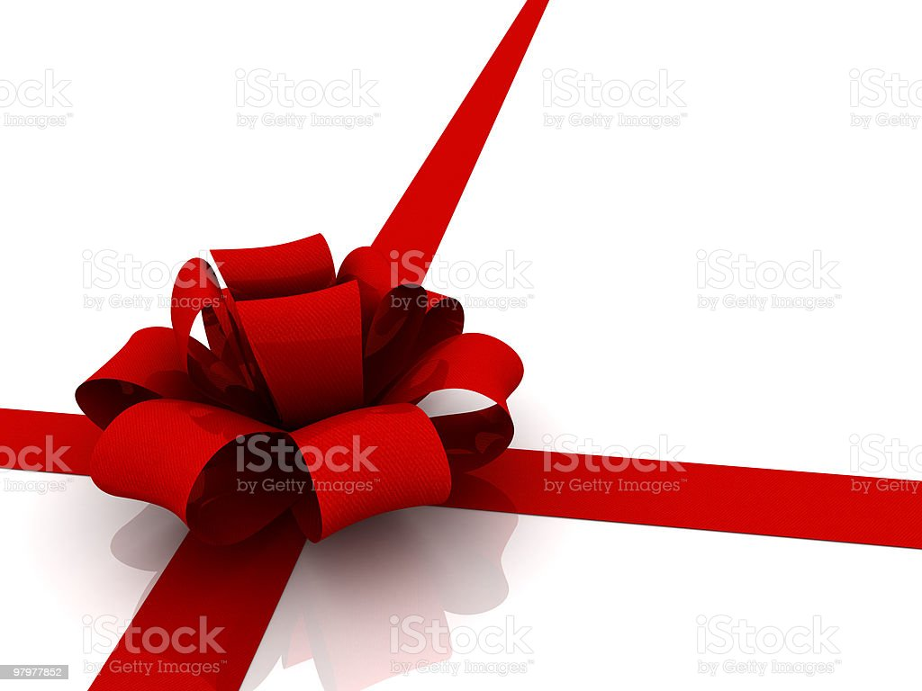 red ribbon tie in a bow royalty-free stock photo