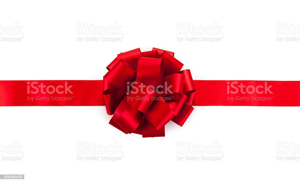 red ribbon with a bow stock photo