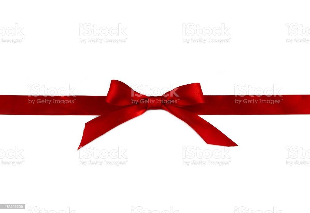 Rote Schleife mit Bogen isoliert auf weißem Hintergrund – Foto
