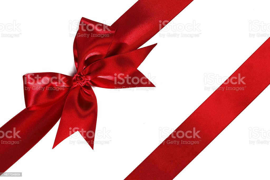 Red ribbon with bow on white stock photo
