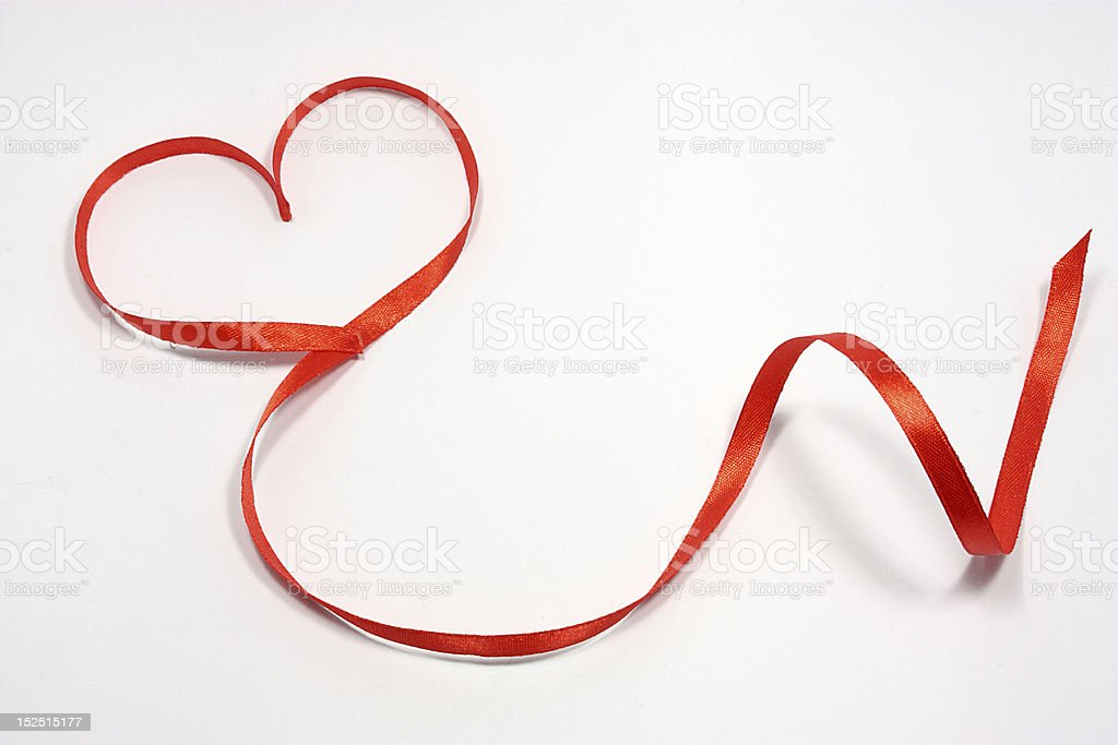 Red ribbon with heart royalty-free stock photo