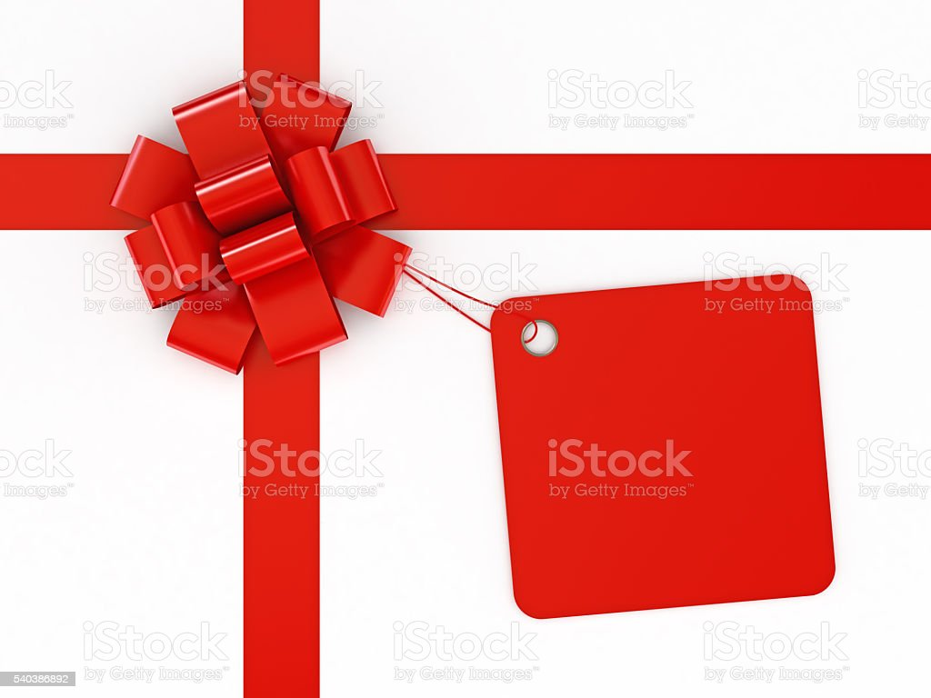 Red ribbon with red tag on white background stock photo