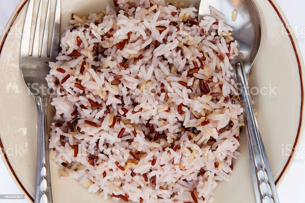 Red rice isolate stock photo