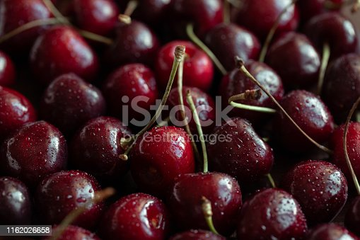 Red ripe fresh cherries in drops of water close up. Cherry background. Berry pattern and texture. Food background.