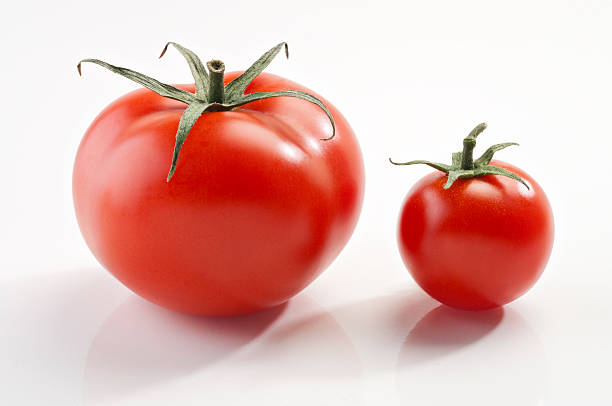 red ripe tomato and a cherry stock photo