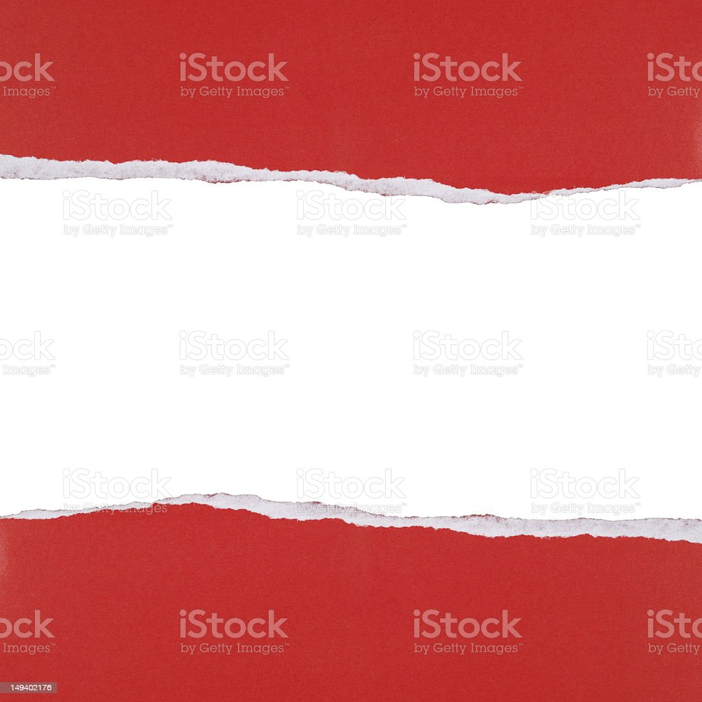 Red ripped paper background stock photo