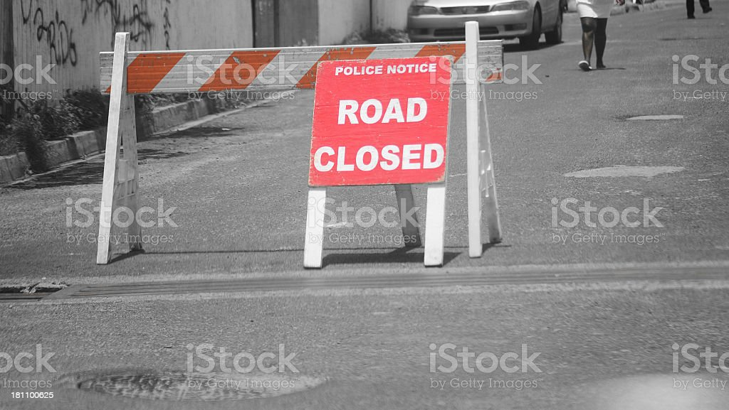 red road closed sign on monochrome royalty-free stock photo