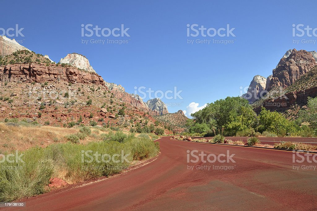 Red road in Zion USA stock photo