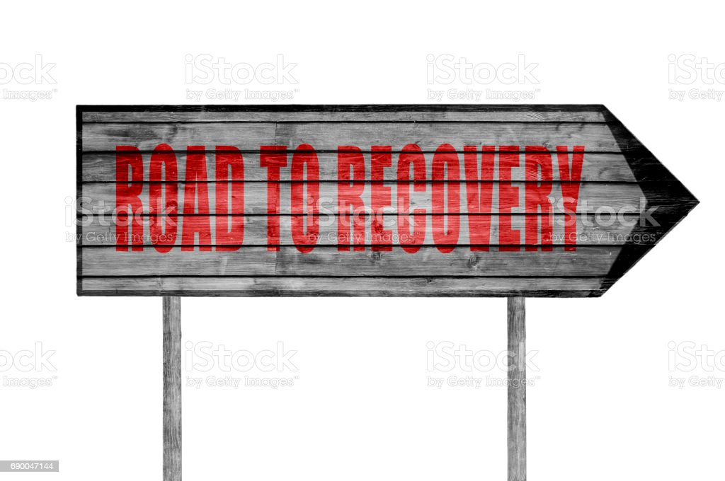Red Road to Recovery wooden sign isolated stock photo