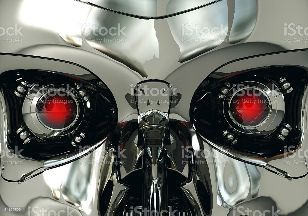 Red robotic eyeballs and robot skull in, cybernetic technology – Foto