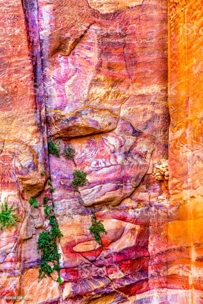 Red Rock Abstract Near Royal Tombs Petra Jordan stock photo
