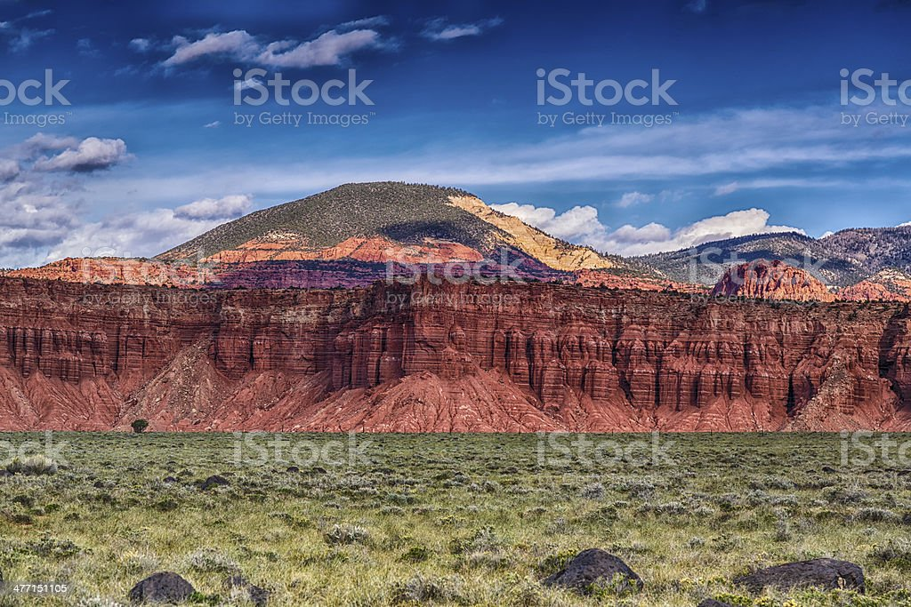 Red Rock and Green Meadows stock photo