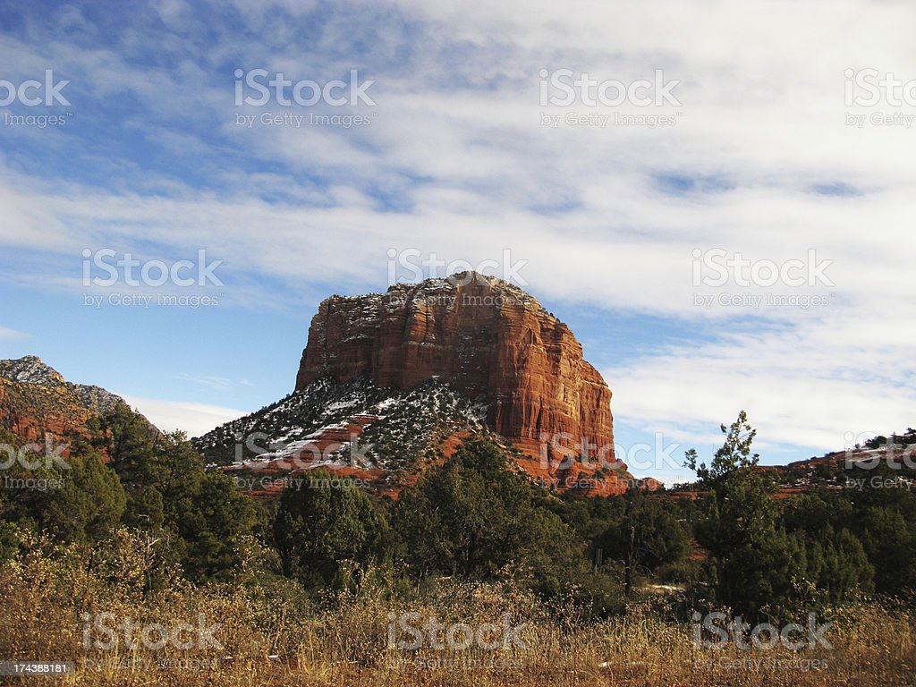 Red Rock Butte Winter Snow royalty-free stock photo