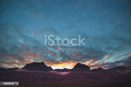 Low clouds at Sunset over the mountains of Red Rock Canyon, Las Vegas