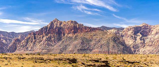 Panoramic of desert Landscape of Red Rock Canyon National Conservation recreation Area in Las Vegas Nevada United States. USA landmark national park nature landscape travel and tourism concept.