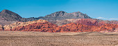 Panoramic view of hills of the Red Rock Canyon on a sunny day of summer, Las Vegas, Nevada, USA.