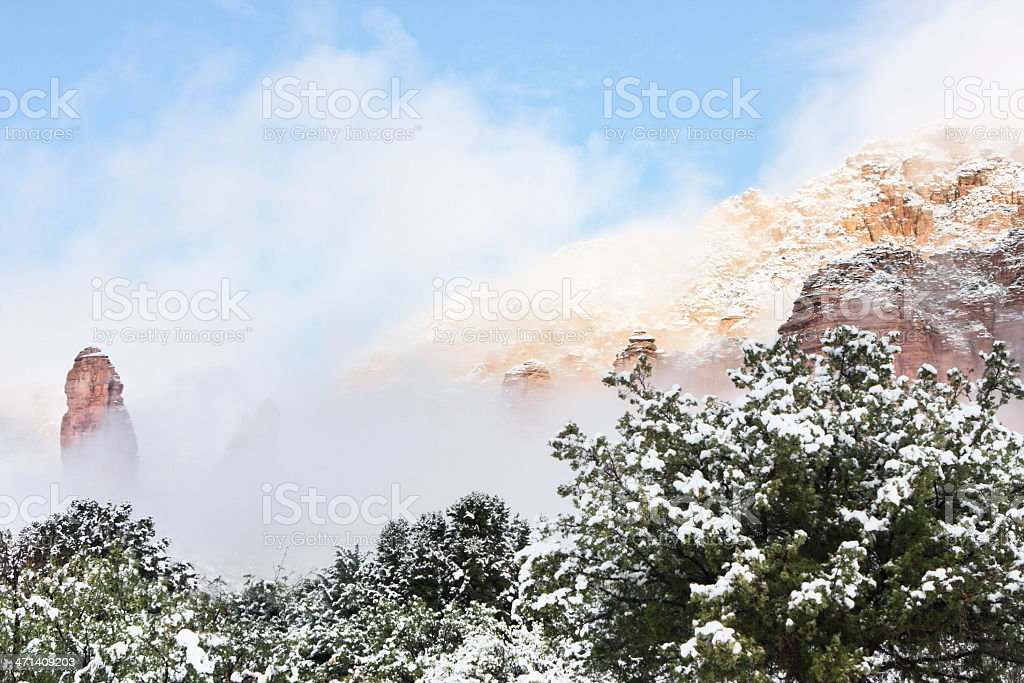 Red Rock Canyon Snow Fog royalty-free stock photo