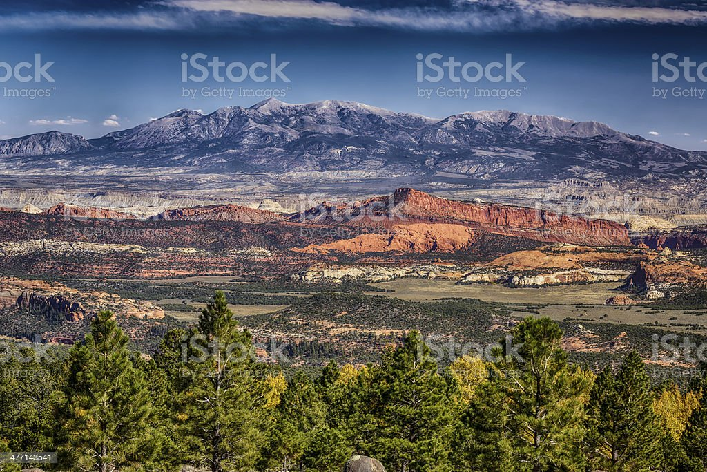 Red Rock Cliffs and the Henry Mountains stock photo