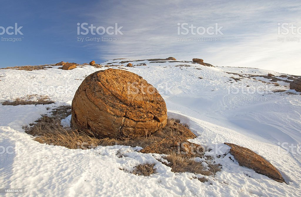 Red Rock Coulee in Winter stock photo