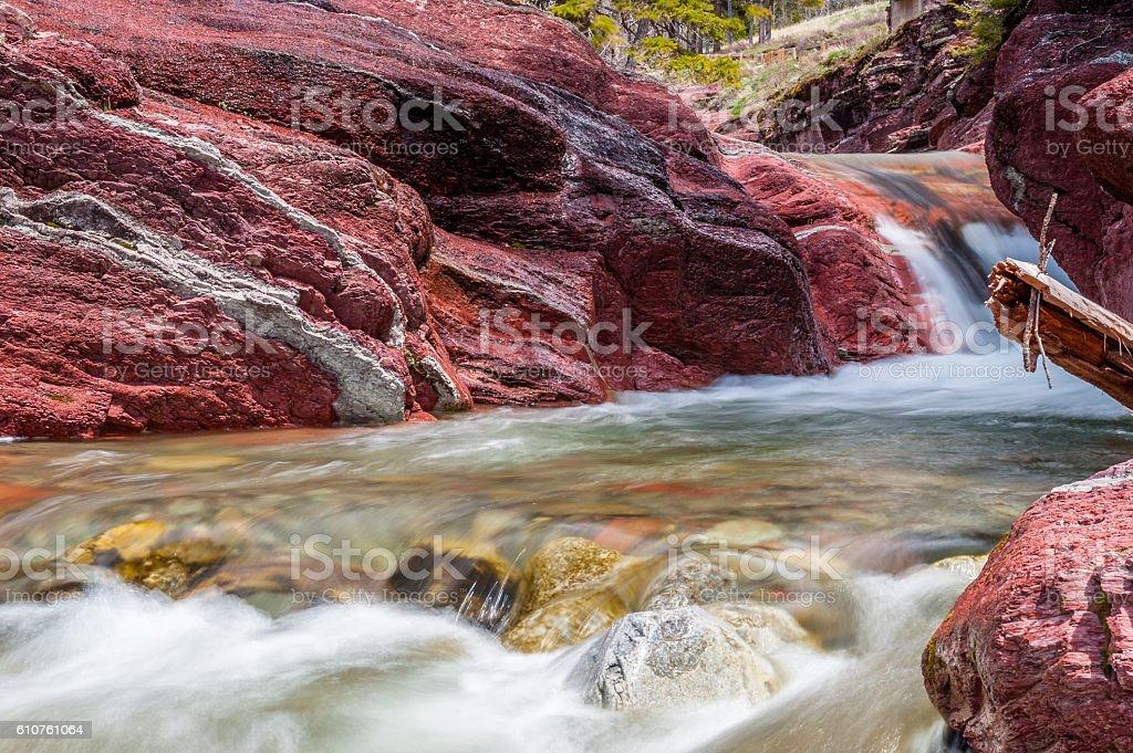 Red Rock creek in motion, Waterton, Alberta stock photo
