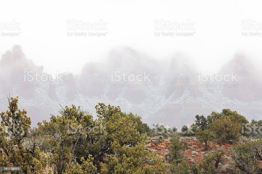 Red Rock Desert Canyon Snow Fog Landscape royalty-free stock photo