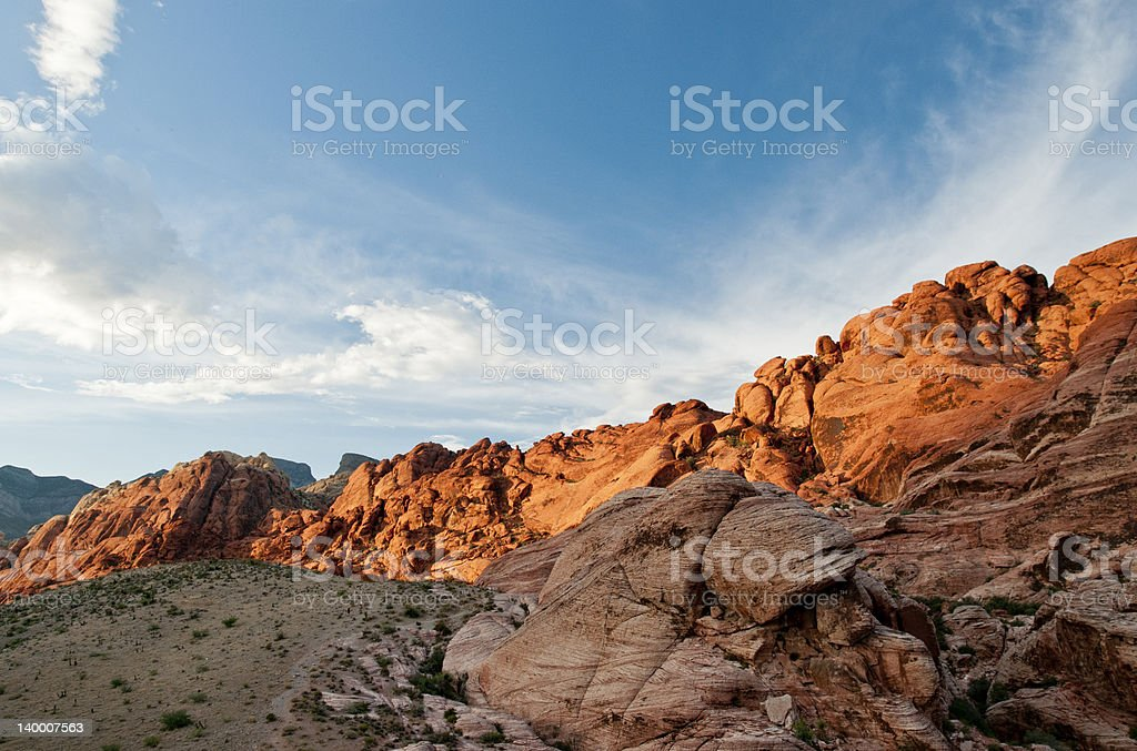 red rock desert in sunset colors stock photo