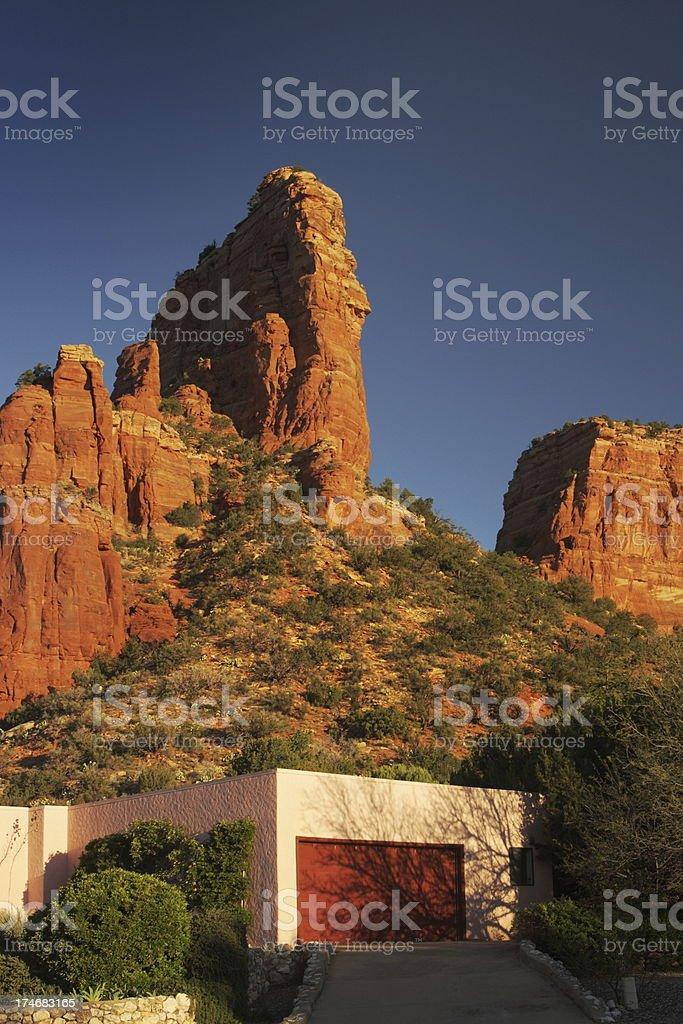 Red Rock Desert Mansion Home Garage royalty-free stock photo
