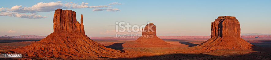 Panoramic of the Mittens With Other Dramatic Rock Formations in Monument Valley