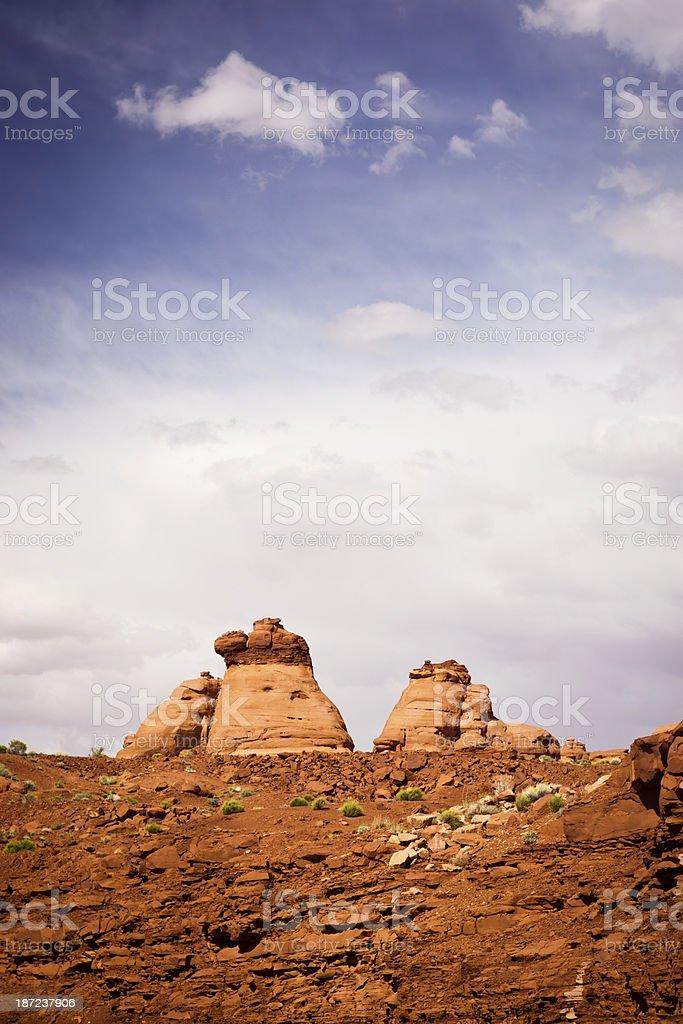 Red Rock Hoodoos in Utah Desert Under Cloudy Sky royalty-free stock photo