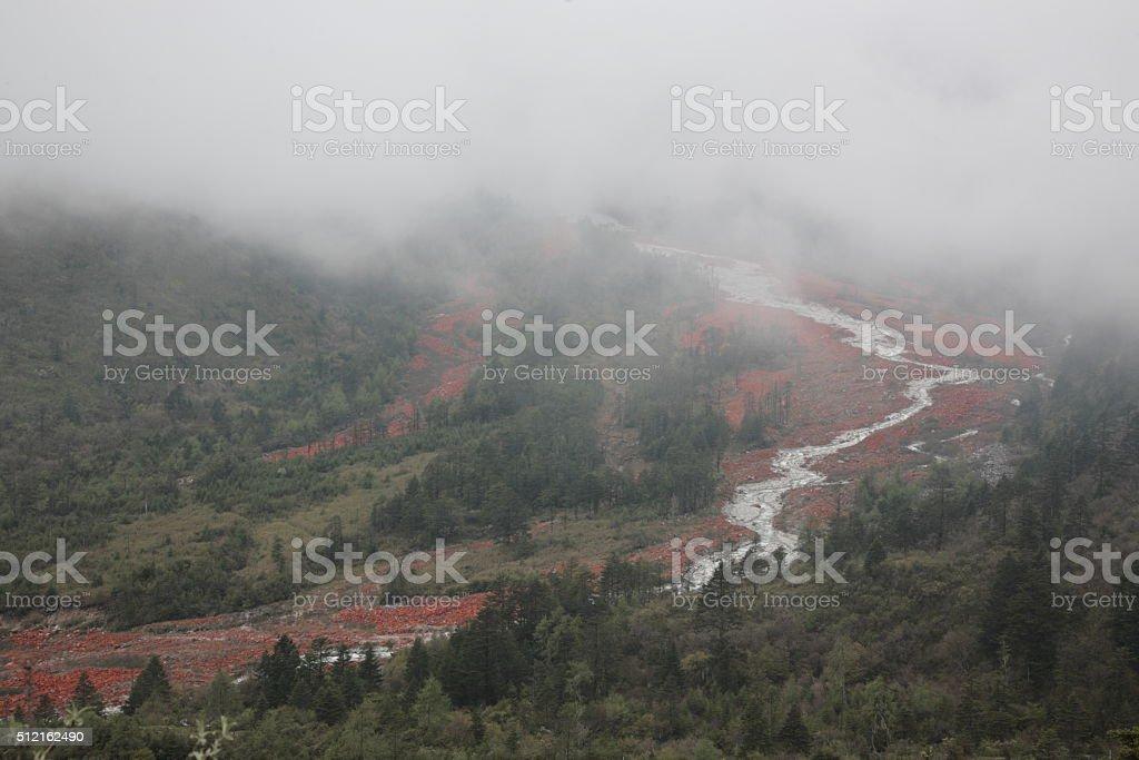 Red rock land at Hailuogou on the Gongga mountain stock photo
