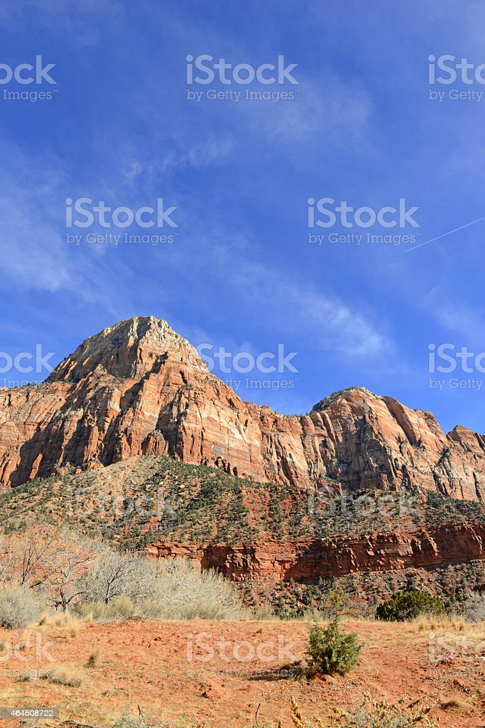 Red rock mountain landscape of Zion National Park, Utah stock photo