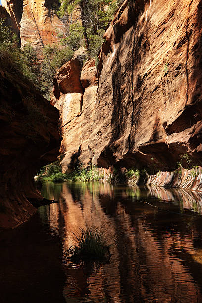 Red Rock Slot Canyon Cliff Stream Reflection stock photo