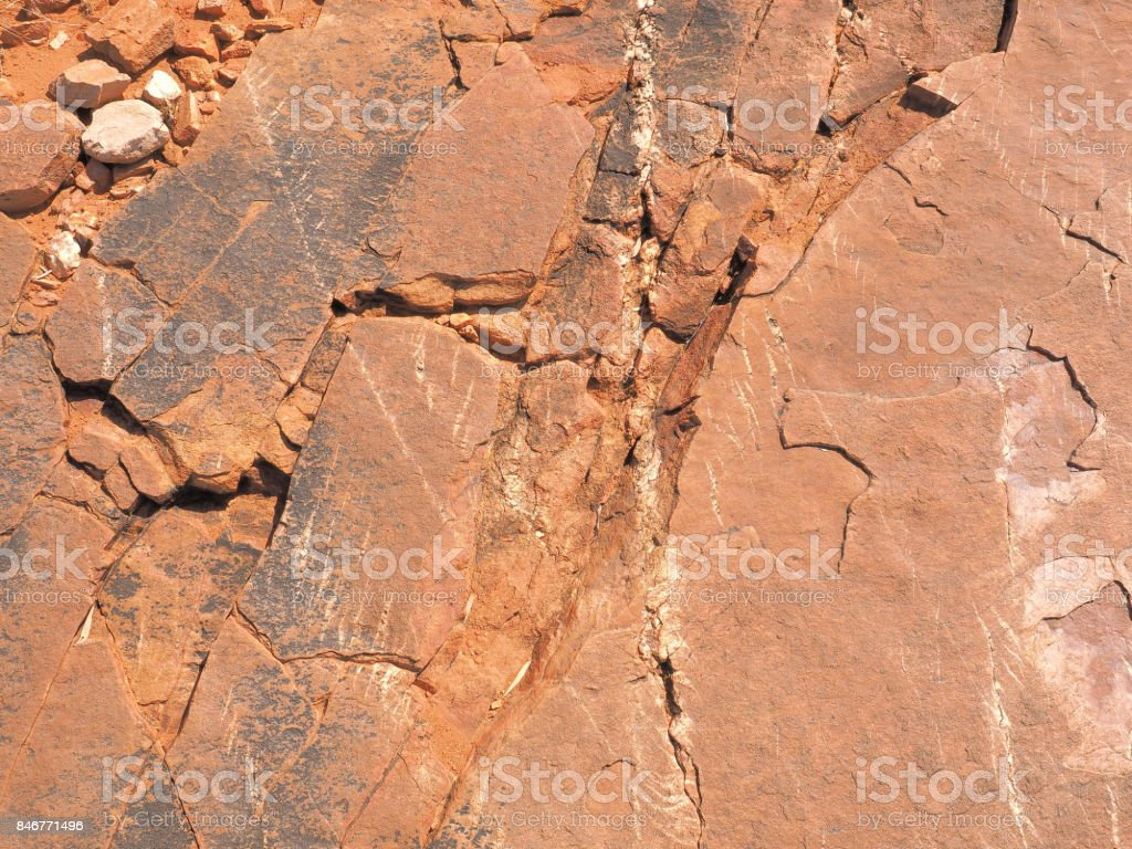 Red rock surface east MacDonnell ranges near Alice Springs, Northern Territory, Australia 2017 stock photo
