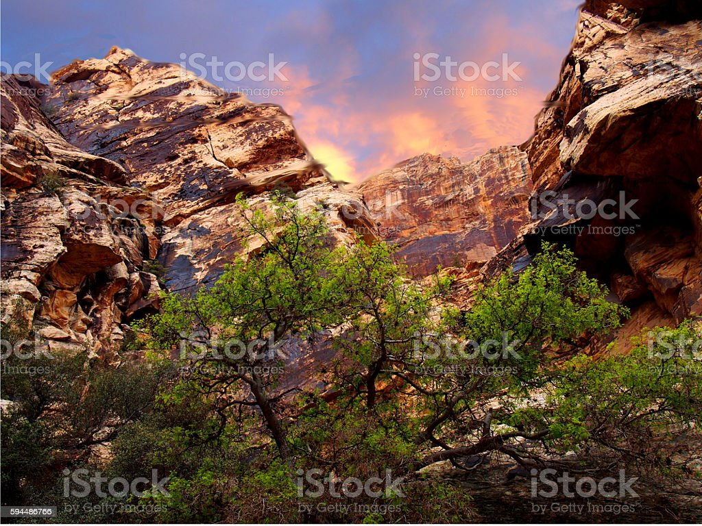 Red Rock Vista Sunset stock photo