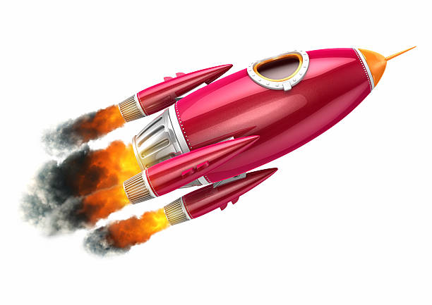 Red rocket flying on white background stock photo