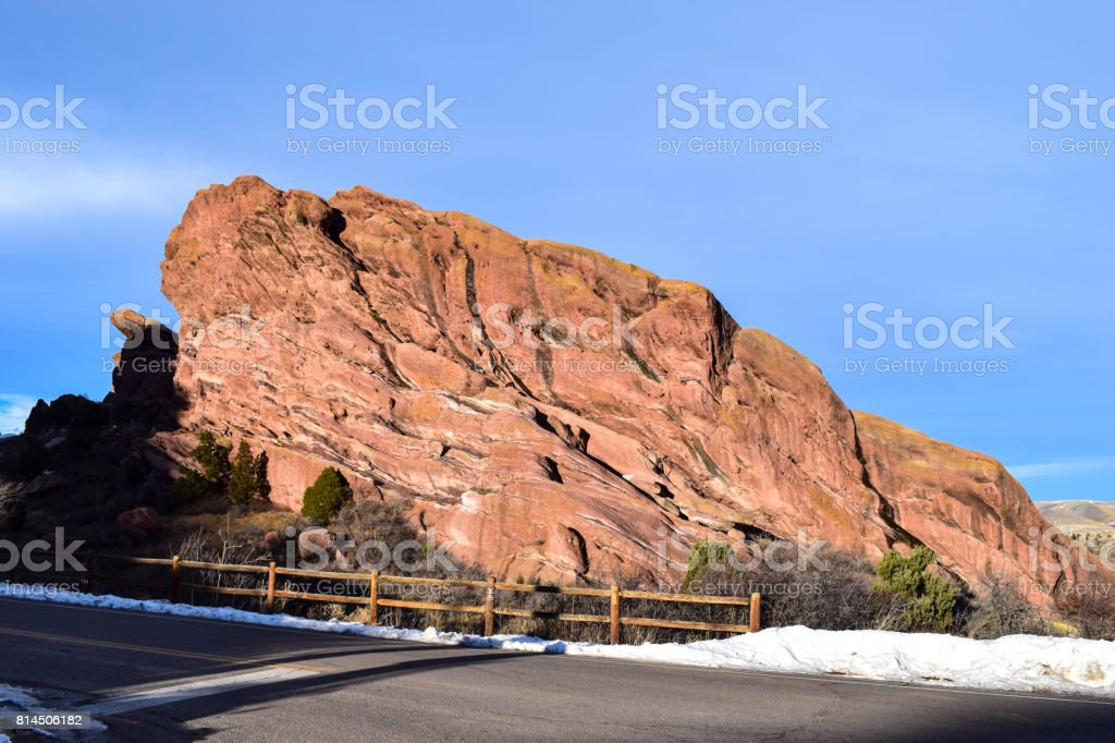 紅色的岩石劇場和戲劇印成,科羅拉多州,美國圖像檔
