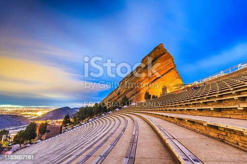 Morrison, Colorado, USA - March 12, 2019 : Early morning at Red Rocks Amphitheater. The renown open air amphitheater has operated since 1906.