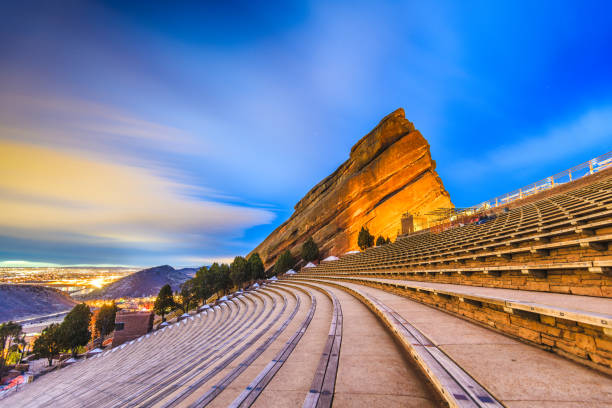 red rocks amphitheatre - red rocks stock pictures, royalty-free photos & images
