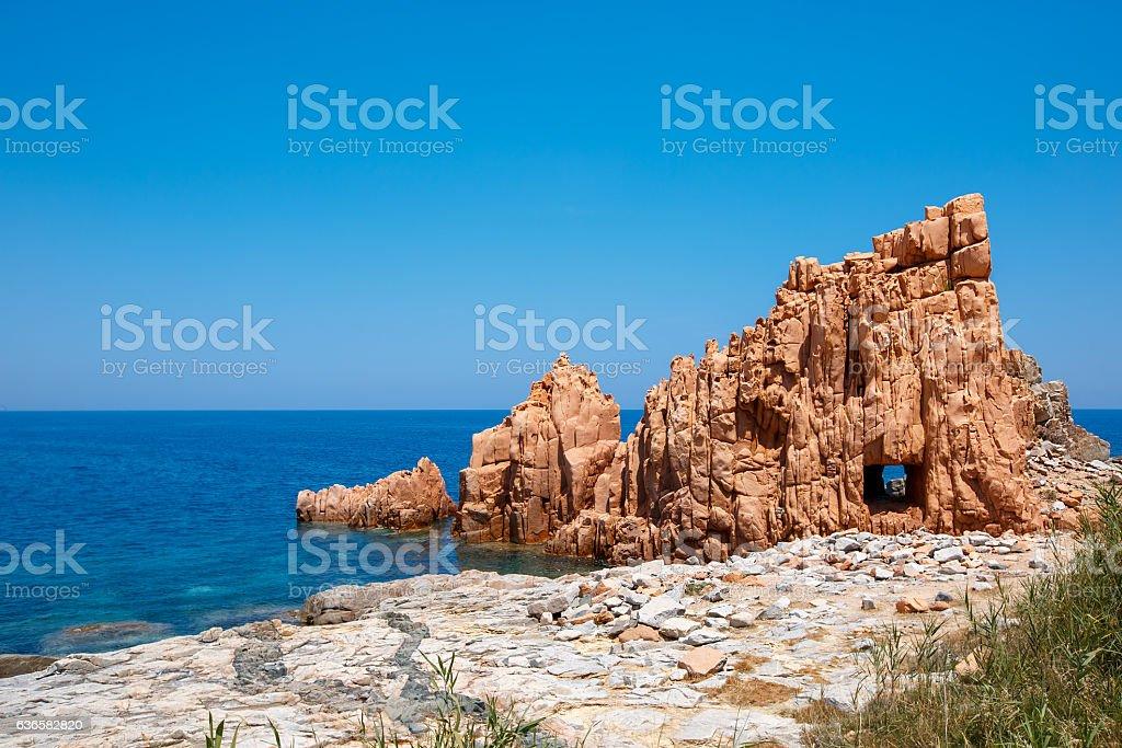 Red rocks and turquoise water of Arbatax, Sardinia stock photo