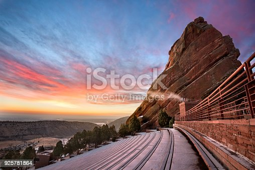 Red Rocks at Sunrise, near Denver Colorado, during Winter
