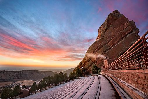 Red Rocks at Sunrise, near Denver Colorado, during Winter