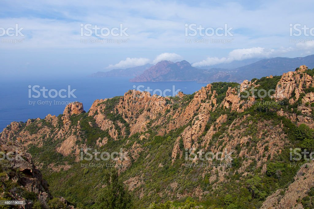 Red rocks Corsica stock photo