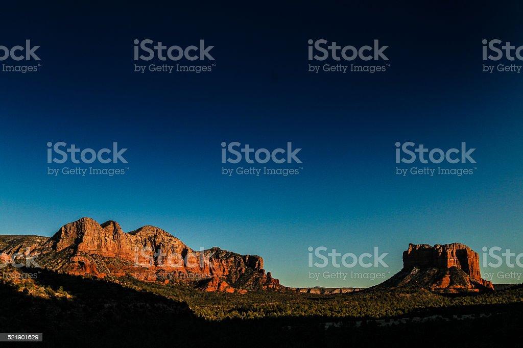 Red Rocks in Sedona Arizona at Dusk stock photo