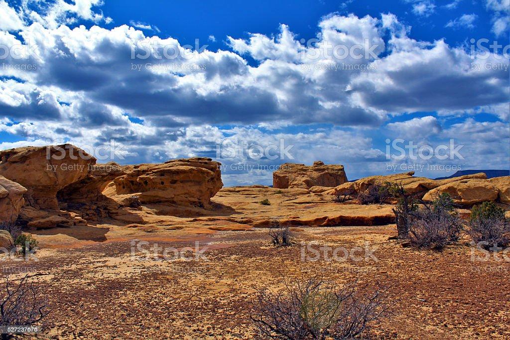 Red Rocks on Sandstone Bluffs of El Malpais stock photo