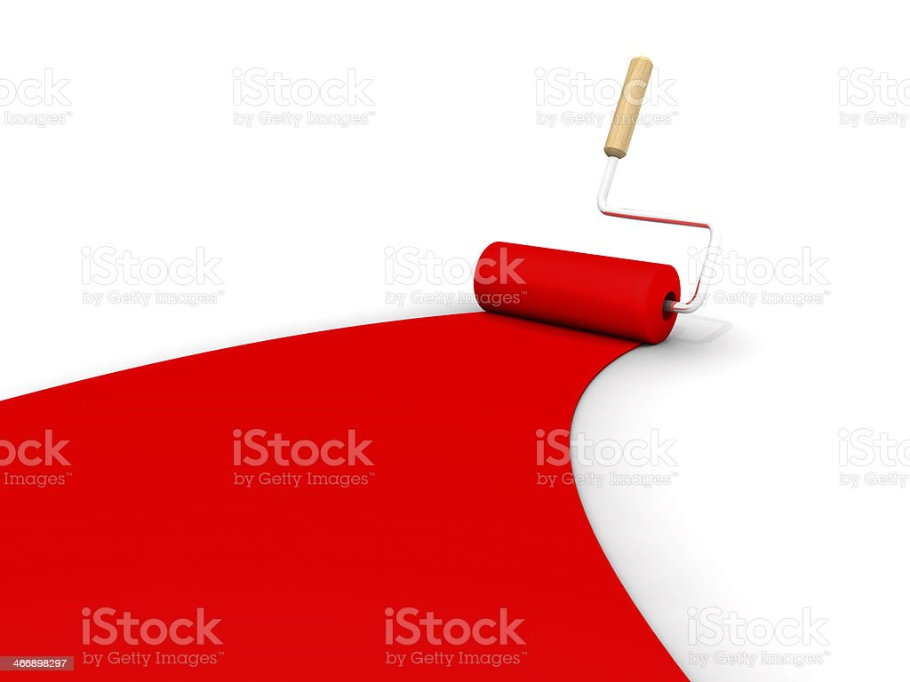 Red Roller Brush Marks On The Ground royalty-free stock photo