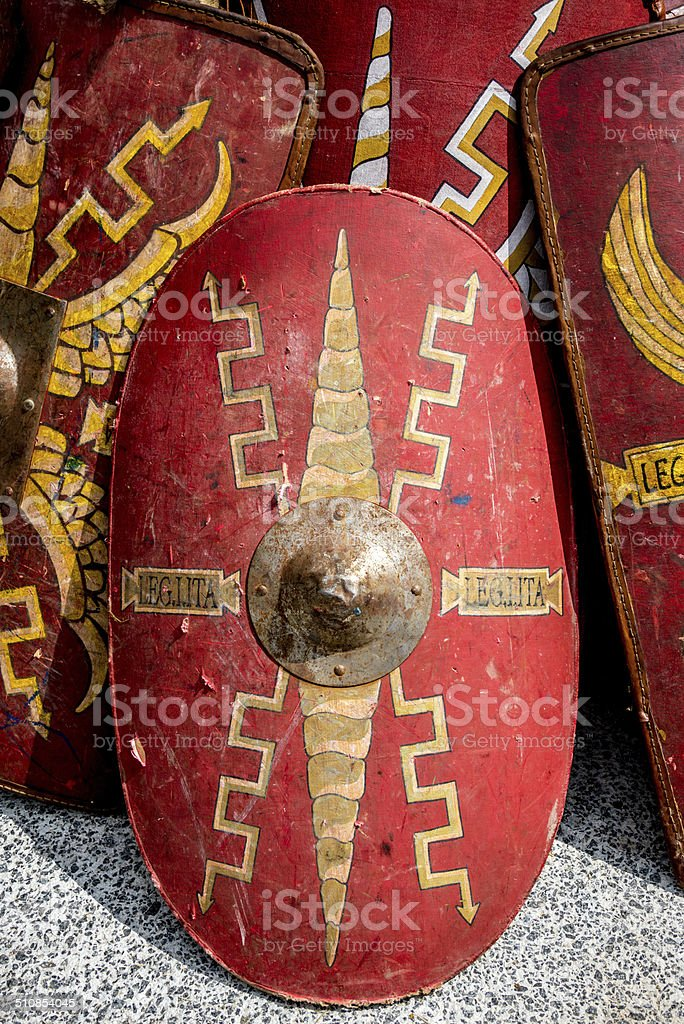 Red Roman Warrior Shields stock photo